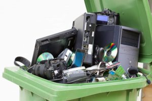 computers in recycling bin