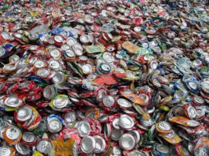 aluminum cans crushed for recycling