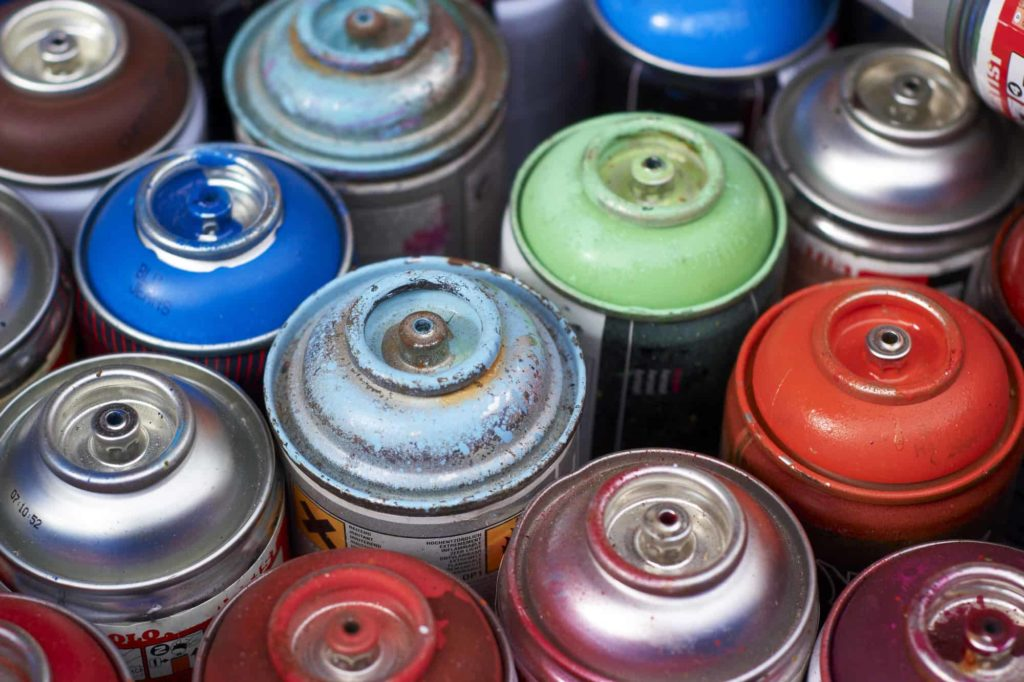 disposed aerosol paint cans