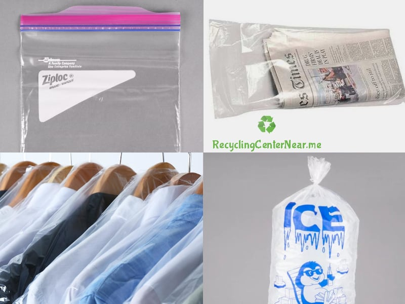 recycle ziploc bags, newspaper bags, ice, bags, dry cleaning bags